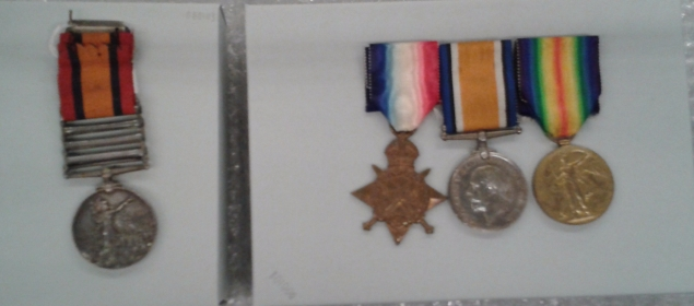 Pte Samways three WW1 medals, and on the left his father's Boer War Medal