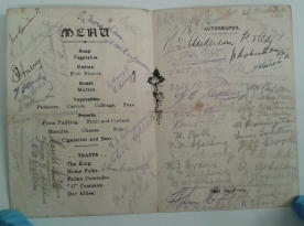 22nd Bn 'C' Coy Christmas 1918 menu card with signatures