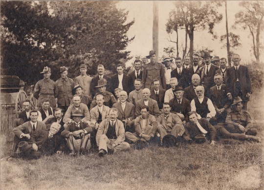 James's send off presentation with workers of the local Drouin Quarry on final leave - Late March 1916 (James is top row 2nd last very left)
