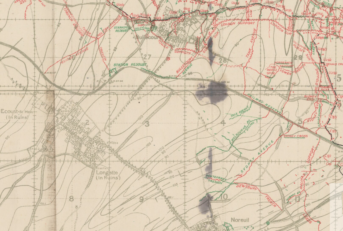 TRENCH MAP OF MEAULTE